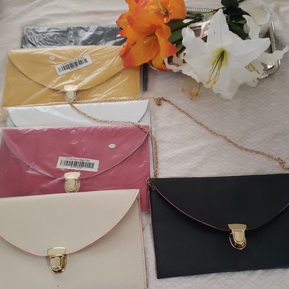 New Envelope thin gold chain clutch.